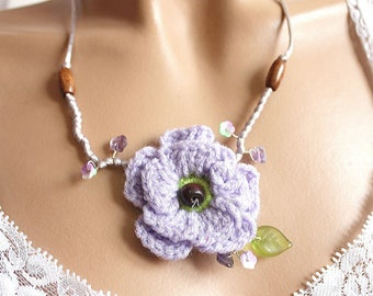 Wool collar and purple flower beads