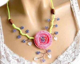 Pomponette pink and Blue Flower necklace