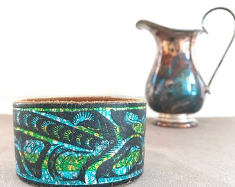 Painted Upcycled Leather Cuff