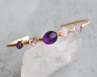 Amethyst bracelet - Bangle hammered Gold filled 14K - Artisan gift designer jewelry-purple stone - Chrisin stone jewelry