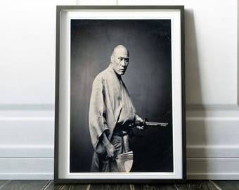 Samurai print / Asian art print / Japanese art / Samurai poster / Vintage photo / Asian art / Japanese decor / Black and white photo print