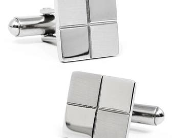 """Classic """"4X6"""" Checkered Cufflinks in 925 Sterling Silver"""