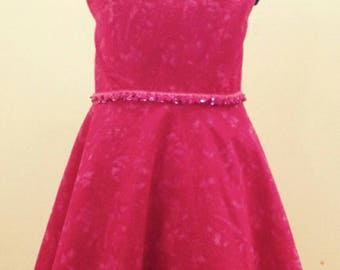 Pink girl dress with elastic sparkly belt 100% cotton