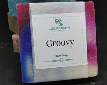 "Handmade ""Groovy"" Fruity Passion Scent Soap by Clean & Happy (1 bar of soap)"