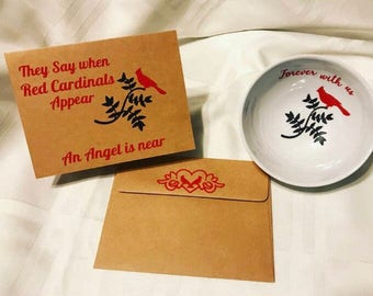 """Red Cardinals ring dish and card """"when Red Cardinals appear an Angel is Near"""""""