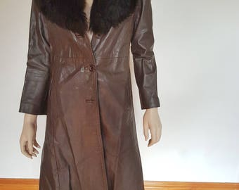 vintage longline leather coat with faux fur