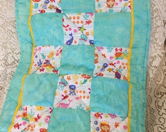 Hand Made Undersea Life Baby Quilt