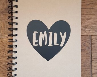 Personalised Name in Heart Notebook