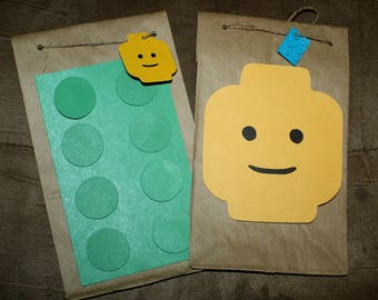 Lego party favor bags,  lego bag , lego birthday bag, lego lute bag
