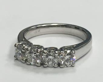 14k WG Stunning 1ct Round Natural Diamond four-stone vintage antique ring stone