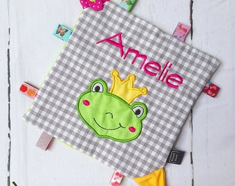 Crackle cloth with names and frog Prince