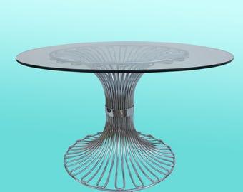 Mid-century Italian Center Table-Italian Table- Chrome Table-Tubular Table-Vintage Table-Chrome Table
