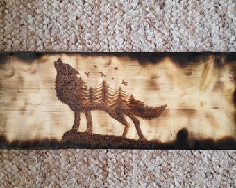Free shipping within UK wood burned pyrography wolf, pyrowolf, original artwork