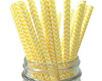 Yellow Chevron 25pc Paper Straws