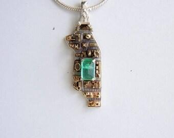 NYC City Replica Pendant, 14k gold, 925 sterling silver, emerald, New York jewelry, Architecture Jewelry, map replica