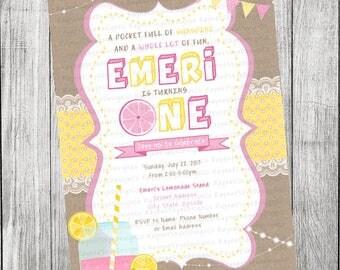 Pink Lemonade Rustic Invitation