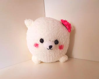 White Pomeranian Plush with pink flower