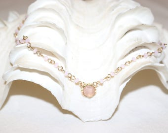 Pink Beaded Choker with Pink Druzy Stone