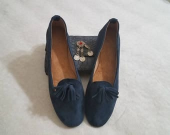 Moroccan blue suede handmade ladies loafers