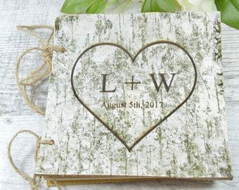 Rustic guest book Wedding guestbook Custom Engraved Wooden guest book Monogram  Wedding guest book Unique guest book ideas