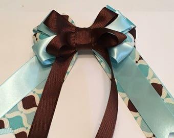 Hair Bow Baby Blue / Brown