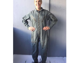 Vintage Flight Suit. 1964. Flight Suit. Coveralls. Flying Man's. Cotton Twill. Military outfit. Jumpsuit. Jump Suit. Vintage Military. Army