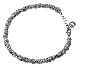 Hollow silver chain bracelet