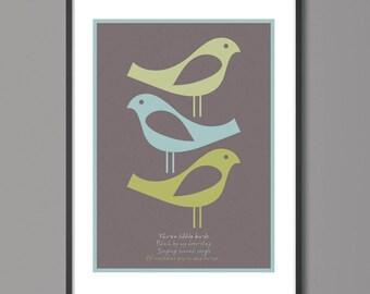 Three little birds print, Bob Marley Lyrics, Bedroom Wall Art, Living Room Wall Art, bedroom decoration, Song Poster