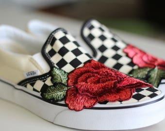 Custom Rose Patch Slip on Vans