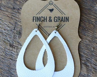 Frosted White - Handmade leather earrings. Genuine leather, lightweight and chic!