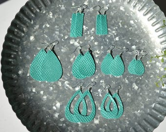 Ocean Teal - Handmade leather earrings. Genuine leather, lightweight and chic!