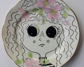 Cute face Hand painted plate