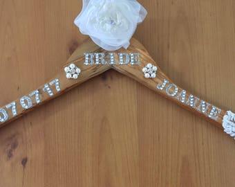 Personalised half lace wedding dress hanger