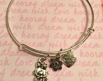 Frog Love Flower Silver Bangle charm Bracelet