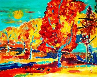 Autumn landscape, Nature, Autumn, Canvas, Color painting, Modern, Decor, ArtWork, Original painting.