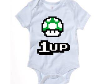 Mario - 1UP funny baby grow - baby clothes