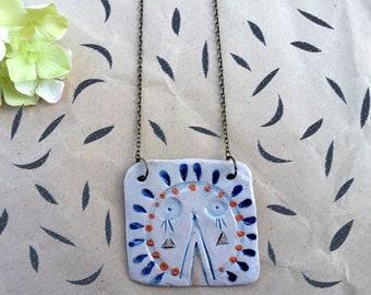 "Ceramic pendant Mask ""Son of the Sun"""