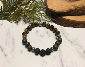 Essential Oil Stretch Bracelet, Lava beads, Wood Beads, diffuser