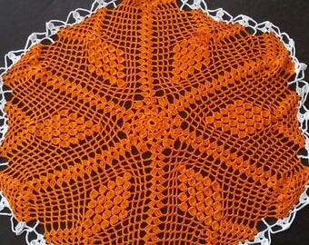 Orange with Cream Colored Bordered Doily...Handmade...Size Large...Great for Halloween or Fall Decorating