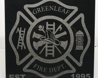 """12"""" x 12"""" Black Granite Tile With Fire Department Badge"""