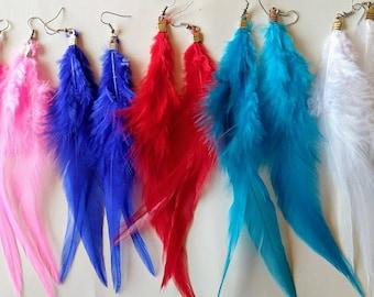 Long feather earring.