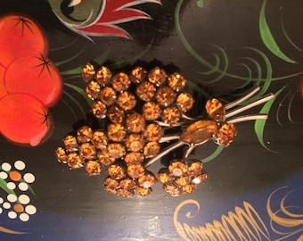Amber Vintage Brooch/Clawset