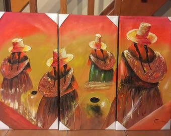 Three piece acrylic Peruvian painting