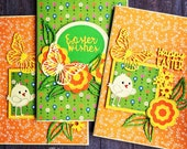 Set of 3 Easter cards - handmade designer cards - bright and cheerful design - Easter greetings - lovely and colourful - unique designs