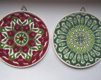 Vintage Greek Handmade Art TWO Pandora Ceramic Coasters Tiles Made in Greece