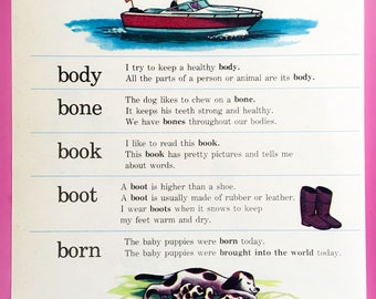 Original Vintage Children's Dictionary Book Page / ABC / Alphabet / Wall Art / Home Decor / Vintage Illustration