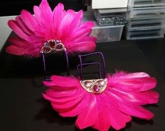 SALE ! Pink feathers Samba costume hand caffs