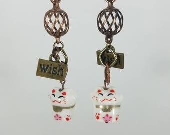 Wish Kitty dangle earrings