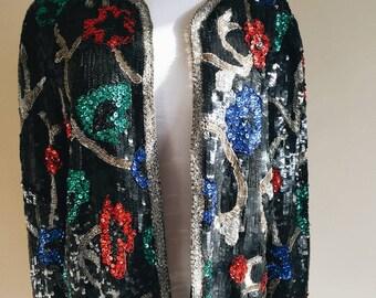80s Vintage Black Floral Heavly Beaded/Sequined Jacket