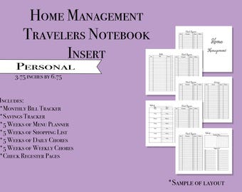 Personal Home Management Travelers Notebook Insert- Printable